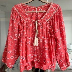 LIKE NEW Free People cotton floral blouse - XS